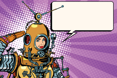 woman close up: Retro woman salutes astronaut or deep sea diver pop art retro vector. Science fiction and adventure. The woman professional. close up Stock Photo