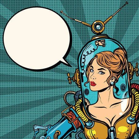 woman girl: Beautiful futuristic girl in a sexy space suit pop art retro vector. Woman captain astronaut. Science fiction hero female. close up