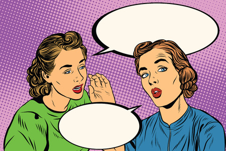 girlfriends: Two retro girlfriends know a secret pop art vector. Rumours, news and gossip. Lifestyle Stock Photo