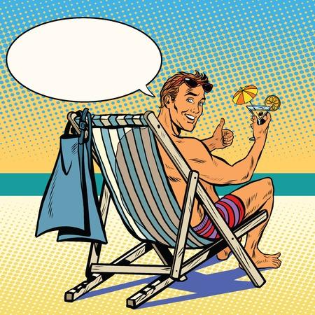 Hombre hermoso que se reclina sobre el vector del arte pop retro playa. El hombre en el sillón reclinable. retro vacaciones en el mar