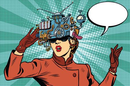 Wirtualna rzeczywistość okulary retro girl Science Fiction, Pop Art wektor. Futurystyczny mechanizm wirtualnej rzeczywistości