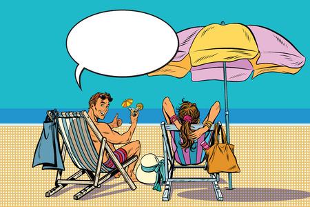 beau couple homme et femme reposant sur le rétro art vecteur plage pop. Voyage et tourisme. Des vacances à la mer Vecteurs