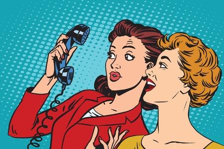 Dos amigas y un vector del arte pop retro teléfono. smartphones retro y la comunicación