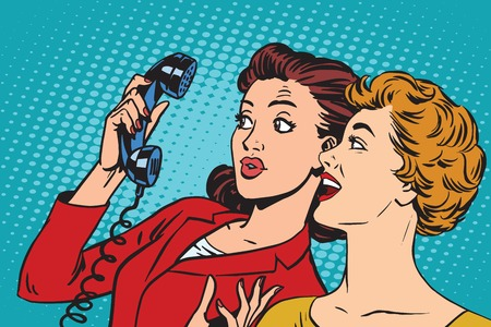 Two girlfriends and a telephone pop art retro vector. Retro smartphones and communication