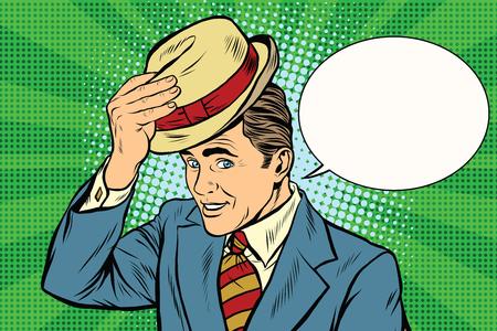 Bonjour monsieur poli soulève son art rétro vecteur chapeau de pop. Etiquette et salutation