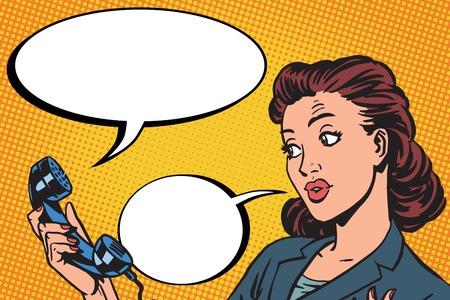 phone conversation: Female phone conversation communication pop art retro vector Illustration