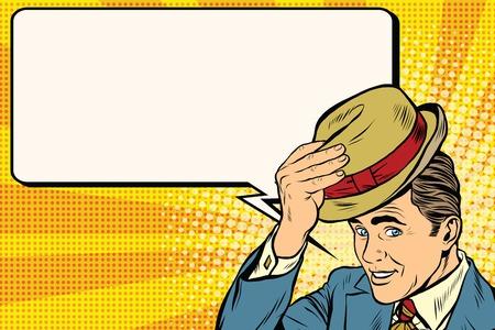 Caballero retro y promocional anuncio pop art retro. Hola caballero educado levanta su sombrero pop art retro. Etiqueta y saludo Foto de archivo - 58660801