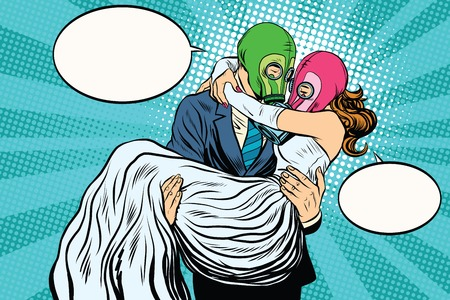 gas mask: Radioactive Apocalypse wedding bride and groom pop art retro vector. A man carries a woman on his hands. couple love