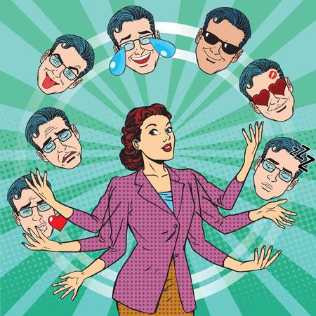 Retro woman juggles the emotions of men pop art retro vector. Joy, sadness, tears, fun