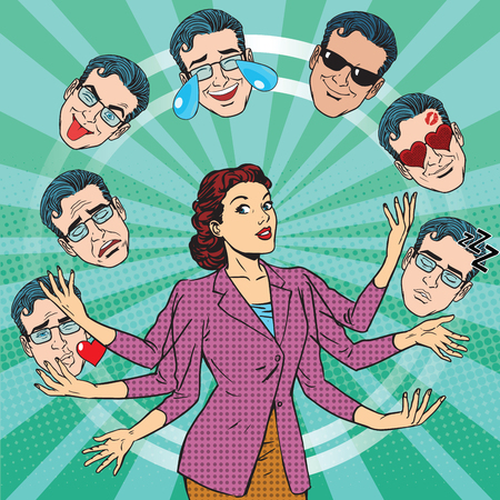 Retro vrouw jongleert met de emoties van de mensen pop-art retro vector. Vreugde, verdriet, tranen, fun