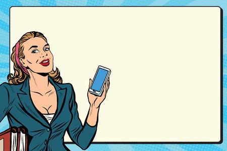 Imprenditrice con lo smartphone in mano pop art retrò vettore. Riuscita ragazza. persone retrò affari