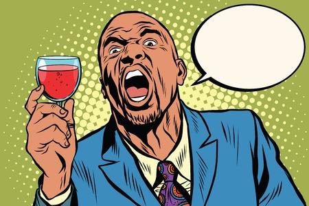 感情的な強い黒人男性トースト ワイン休日、アフリカ系アメリカ人実業家ポップアートのレトロなベクトル