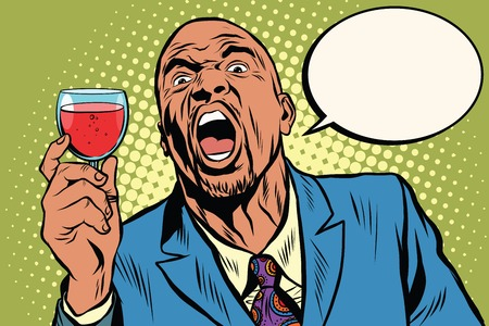 Emotional strong black man toast wine holiday, an African American businessman pop art retro vector Illustration