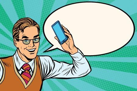 Joyful businessman with smartphone close-up pop art retro vector