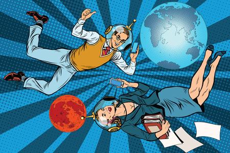 Zakenman en zakenvrouw astronauten pop-art retro vector. Man en vrouw op het werk. Mission to Mars