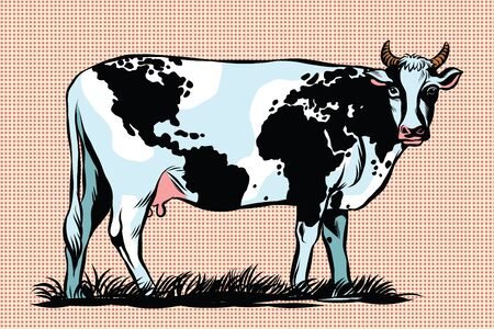 full length portrait: Cow Milk world map pattern on the skin pop art retro vector. Meat milk international business. Agriculture