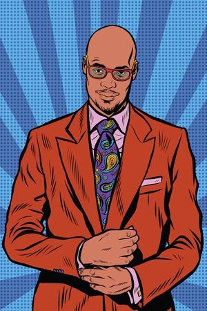 レトロな流行に敏感なアフリカ系アメリカ人、黒人、エレガントなスーツ、サングラス。ハゲ男のひげ、ポップアート レトロなベクトルで