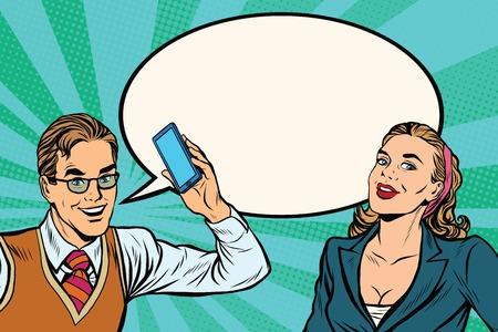 dialogo: el diálogo del vector del teléfono móvil retro del arte pop masculino y femenino. Tecnología moderna
