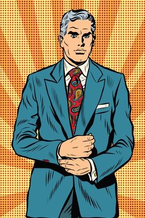 Retro businessman boss gray hair pop art retro vector. Vintage male. Serious facial expression Illustration