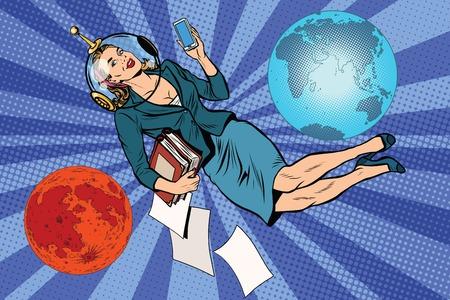 telefono caricatura: Cósmica mujer de negocios vector de astronauta arte pop retro. El planeta Marte universo tierra futura
