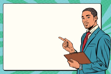 Schöne schwarze Geschäftsmann Präsentation Pop-Art Retro-Vektor. Business-Training oder Seminar