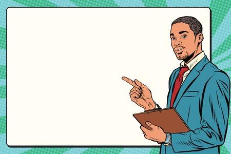 black american: Beautiful black businessman presentation pop art retro vector. Business training or seminar
