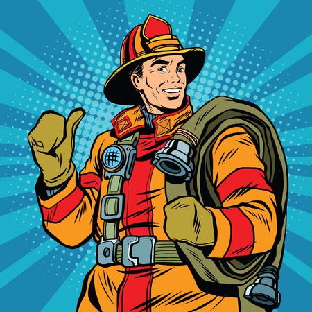 brandweer cartoon: Rescue brandweerman in een veilige helm en uniform pop art retro vector. De professionele hulpverlener Stock Illustratie