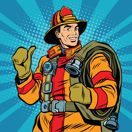 fireproof: Rescue firefighter in safe helmet and uniform pop art retro vector. The professional rescuer