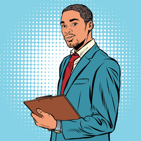 Black businessman with documents pop art retro vector. Vettoriali
