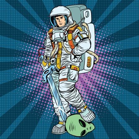 宇宙の戦士は、勝者のエイリアンの pop アート レトロなベクトルです。スターシップ ・ トゥルーパーズ。軍事小説