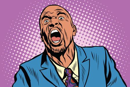 Emotional starker schwarzer Mann, ein US-amerikanischer Geschäftsmann Pop-Art Retro-Vektor Standard-Bild - 58649897