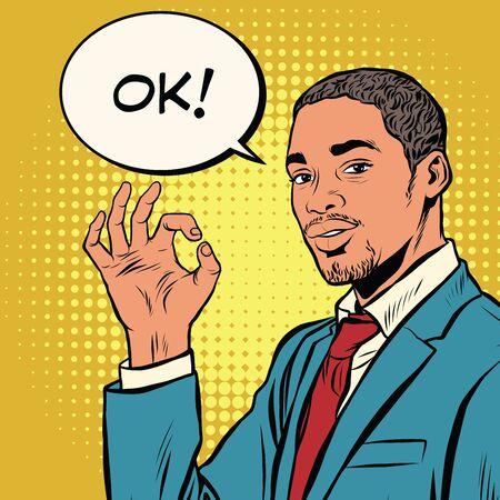 ok: OK gesture black businessman pop art retro vector. Successful African-American. The quality is okay