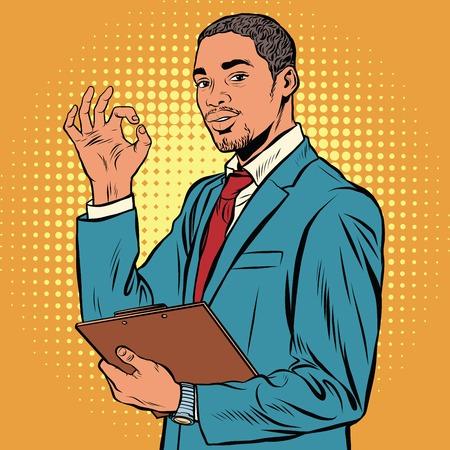 OK gesture black businessman pop art retro vector. Successful African-American. The quality is okay