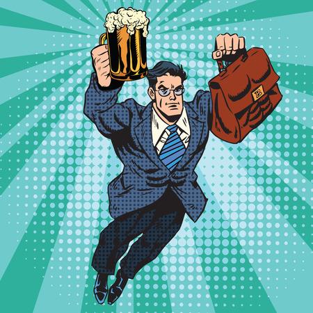 tough man: Beer man superhero flying pop art retro vector. Businessman with a beer in hand