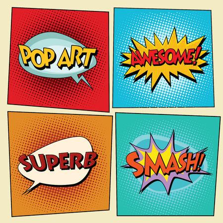 phrases: Set of retro comic bubbles pop art phrases vector. Pop art. Awesome. Superb. Smash Illustration