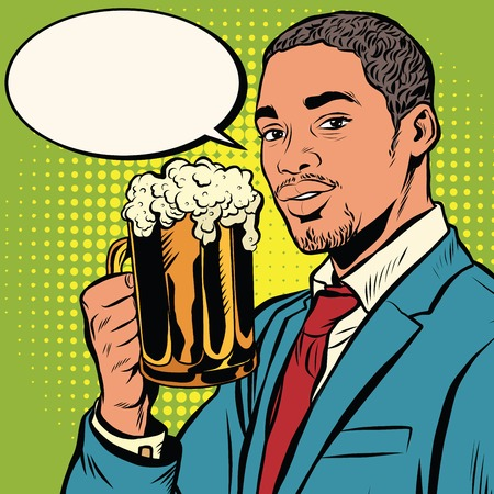 beer party: Elegant black man with a beer pop art retro vector. Bars restaurants pubs. Alcoholic beverage. Oktoberfest beer festival