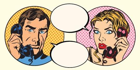 Vintage coppia uomo e donna che parla al telefono pop art retrò vettore