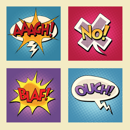 ouch: Set of retro comic bubbles pop art phrases vector. Aaagh No Blaf Ouch