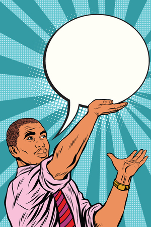 レトロな黒ビジネスマン漫画バブル ポップアートのレトロなベクトル。メッセージ フレーズのテキスト