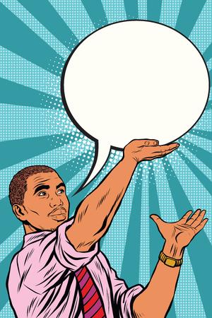 Retro zwarte zakenman cartoon bubble pop art retro vector. Bericht zin tekst
