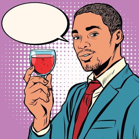 Primo piano sul enologo odore di vino rosso in vetro pop art retrò vettore. intenditori di vino dell'afroamericano. Nero uomo elegante Logo