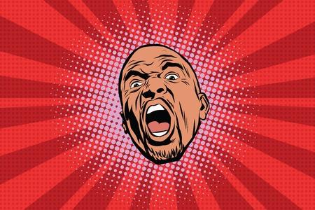 Llamativo negro cabeza del vector del hombre del arte pop retro del arte pop. estilo cómico afroamericano Ilustración de vector