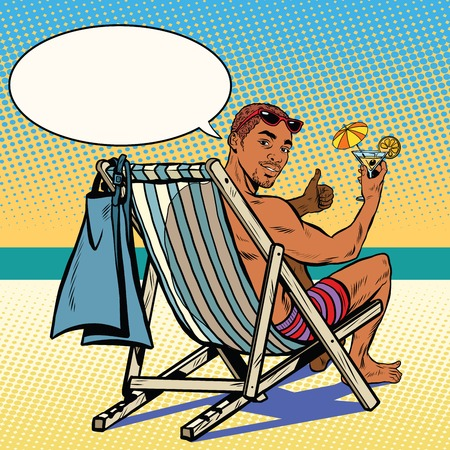 recliner: Handsome black man resting on the beach pop art retro vector. The man in the recliner. Retro vacation at sea