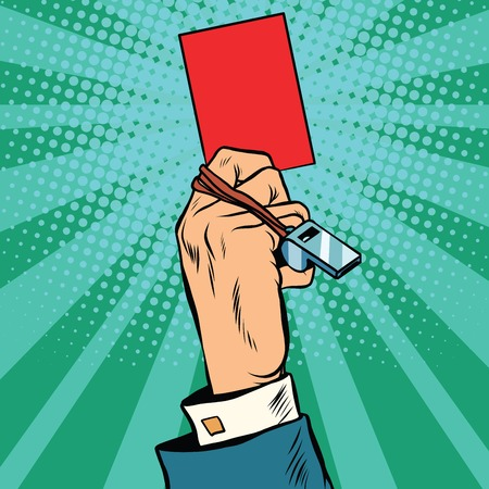 stop: Red card hand business concept pop art retro vector. Violation of the ban