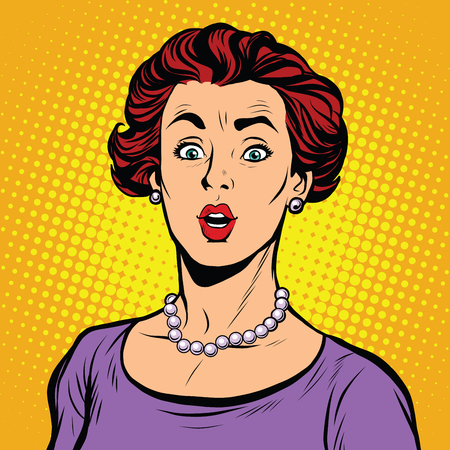 woman shock: Surprised woman with a pearl necklace pop art retro vector realistic hand drawing illustration. Beautiful elegant white lady, Caucasian, look at the camera, wide eyes Illustration