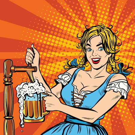 Young blond woman pours a beer, dressed in a national costume of Germany pop art retro vector. Oktoberfest beer festival