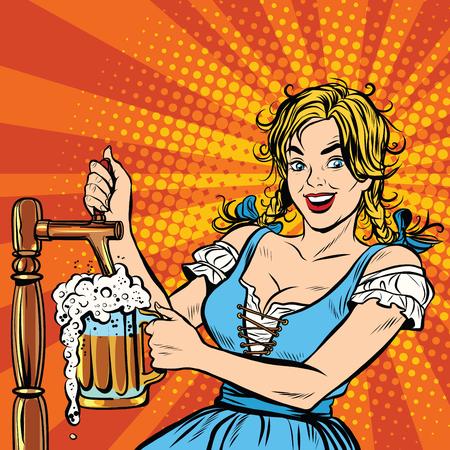 La mujer rubia joven vierte una cerveza, vestida con un traje nacional de Alemania del arte pop retro del vector. fiesta de la cerveza Foto de archivo - 59667158