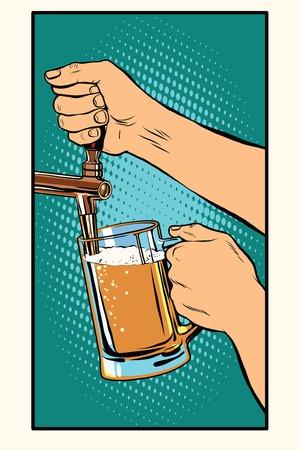 Il barista versa un bicchiere di birra pop art retrò vettore. Pub e il progetto di alcool Vettoriali