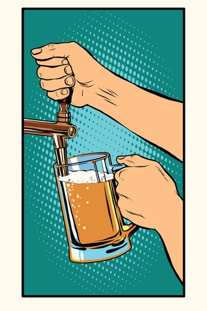 The bartender pours a glass of beer pop art retro vector. Pub and draught alcohol