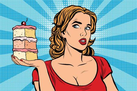 sweet pastries: Pop art girl diet cake retro vector. Sweet food, pastries